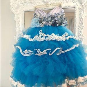 BLUE FLORAL Garden Ballerina Bustier PARTY Dress